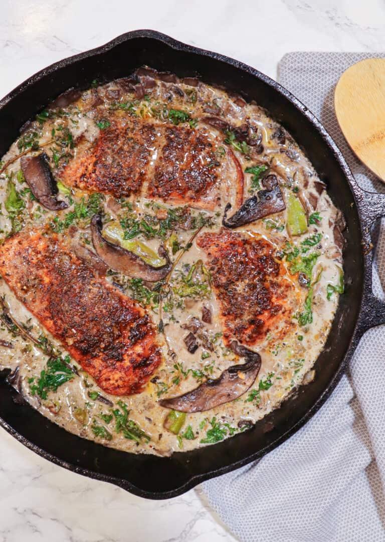 blackened salmon with mushroom cream sauce