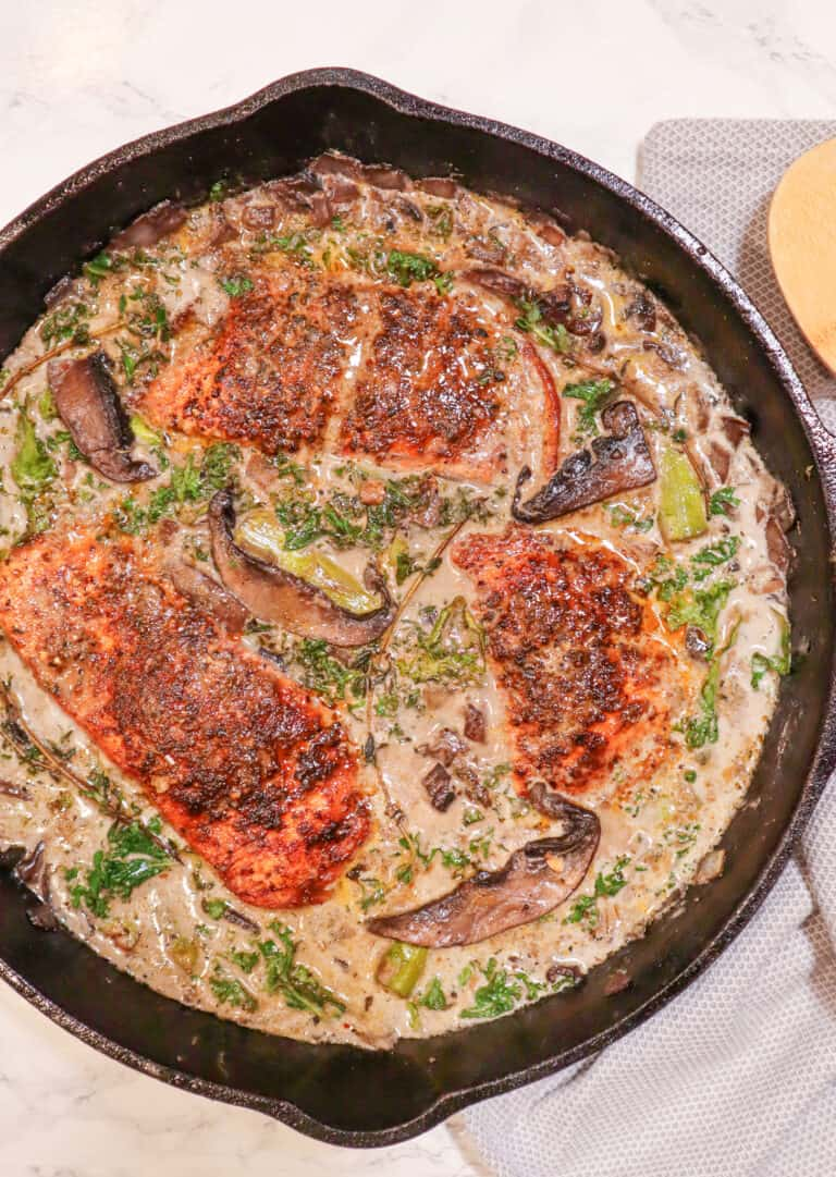 salmon in creamy mushroom sauce