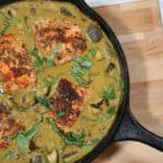 Blackened Salmon with Coconut Curry, basil and eggplant