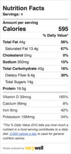 nutrition label for cashew cream pasta