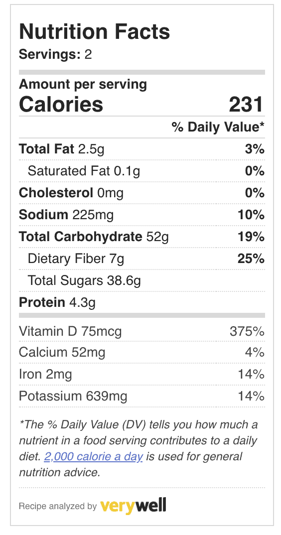 nutrition facts for smoothie