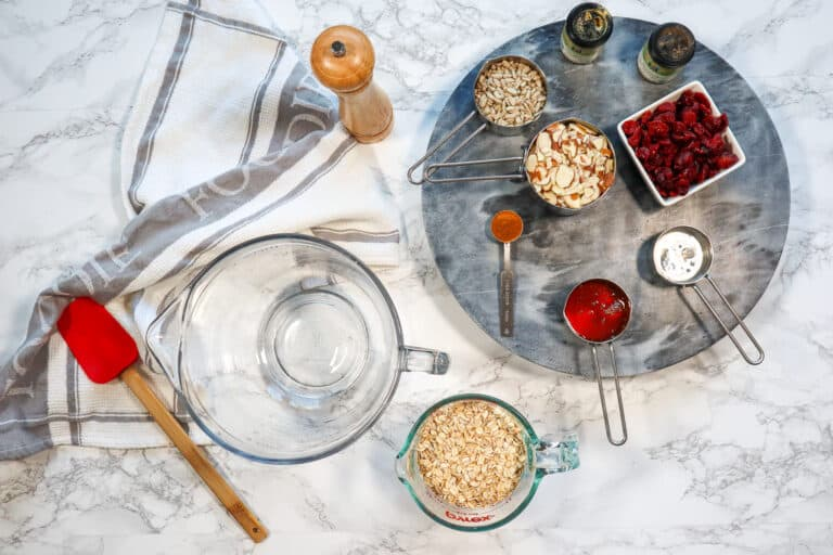 cranberries, al,monds, maple syrup, oat meal for granola recipe