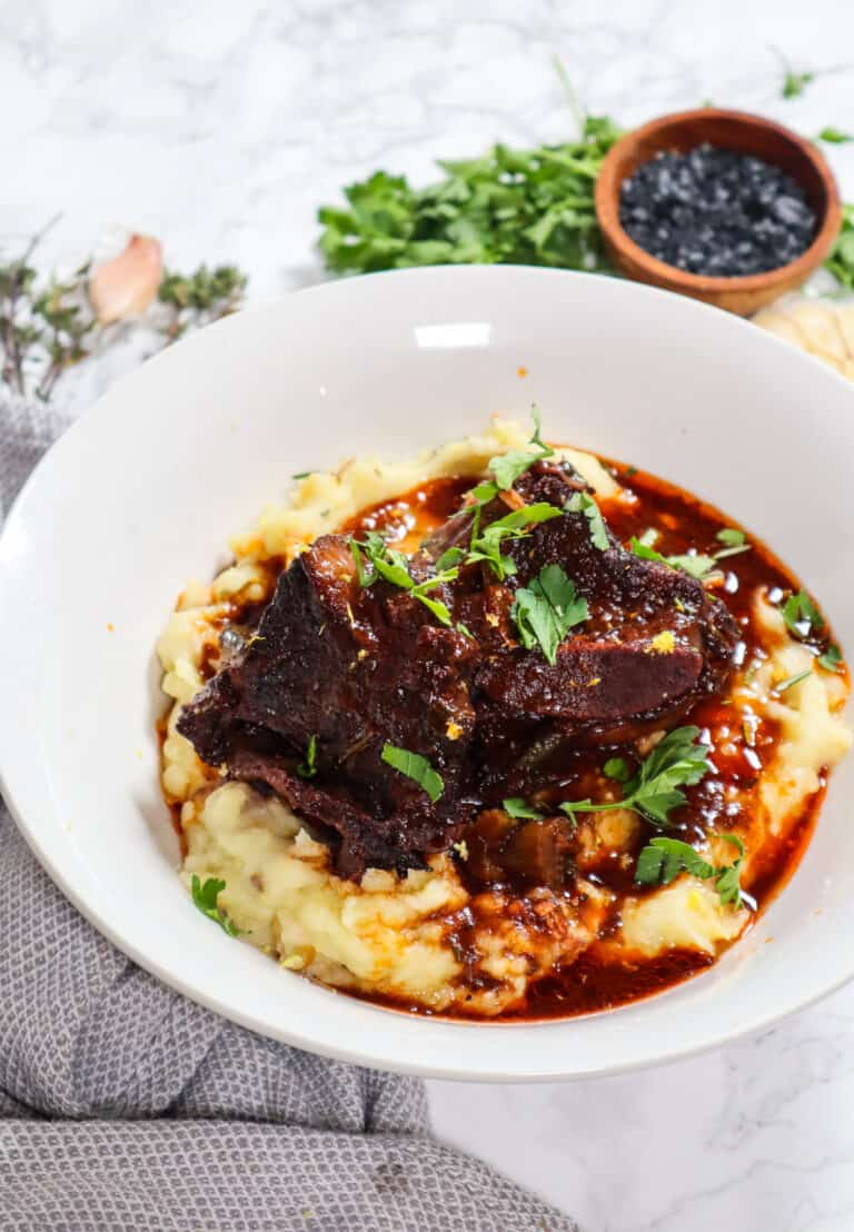 delicious short ribs over creamy mashed potatoes