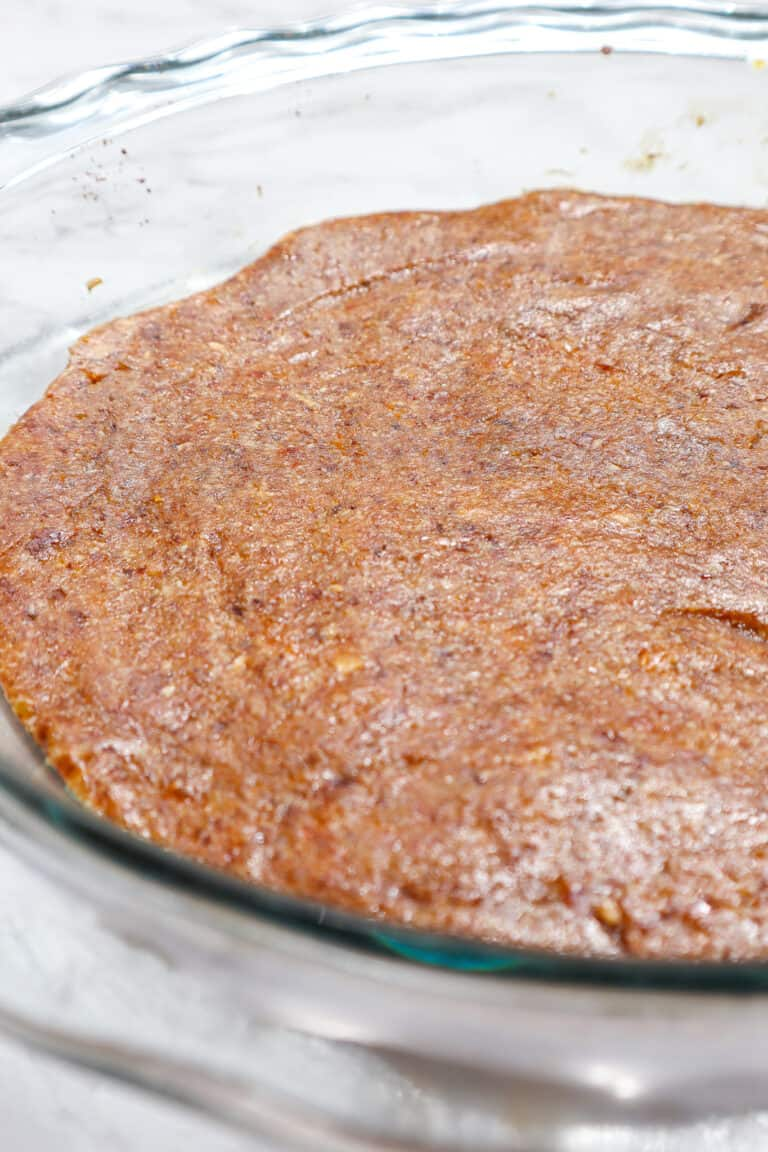gluten free crust made with dates almond meal and dried apricots