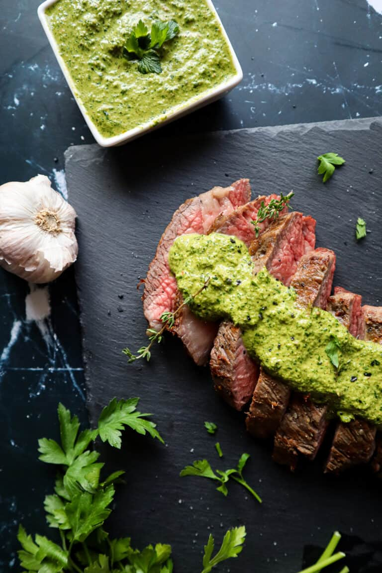 grilled tri tip with chimichurri sauce