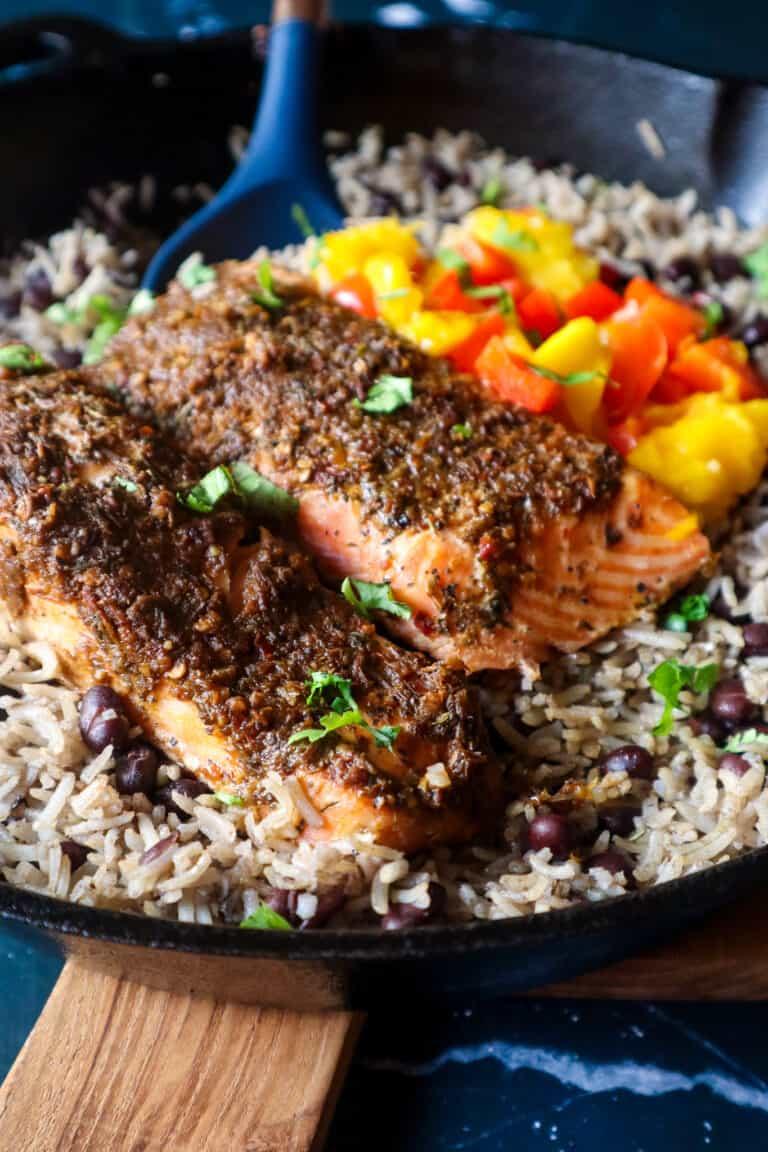jerk salmon rice and peas