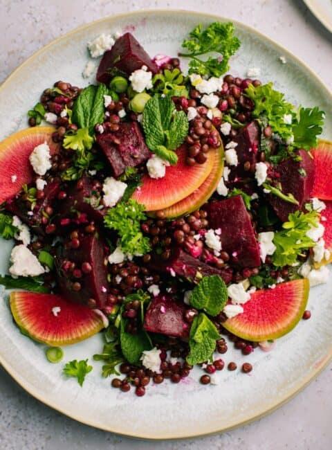 beet and lentil salad deliciously mediterranean