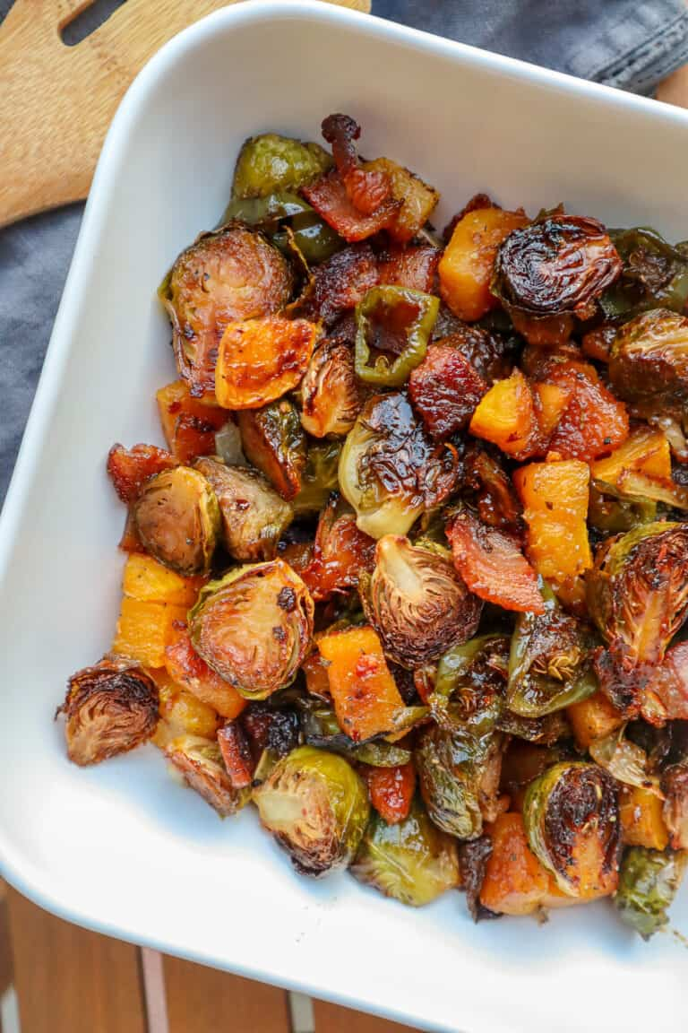 roasted Brussels sprouts with butternut squash and bacon