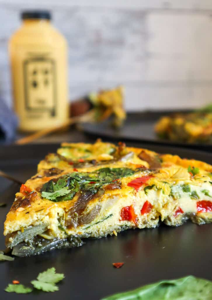 close up of slice of vegan eggless frittata using Just egg plant based egg