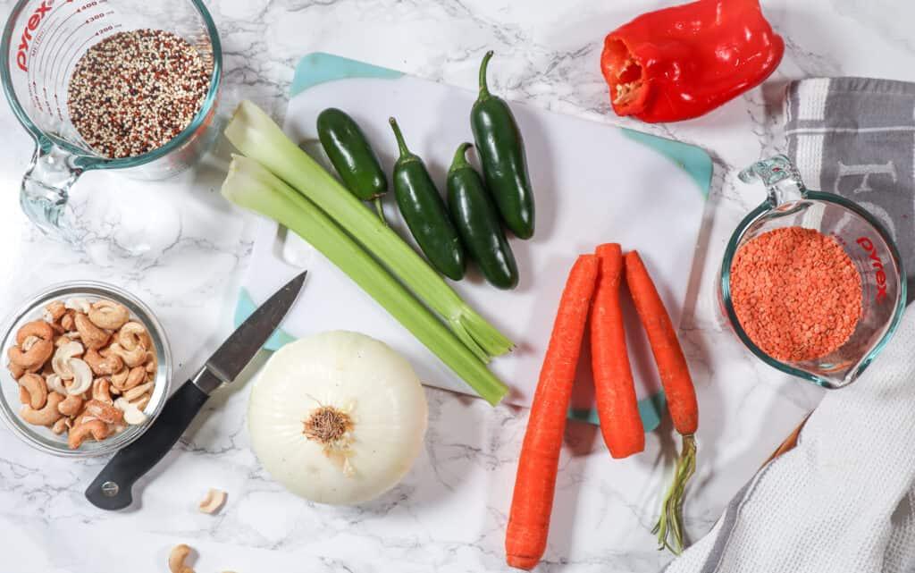 Ingredients to make White Bean Quinoa Chili