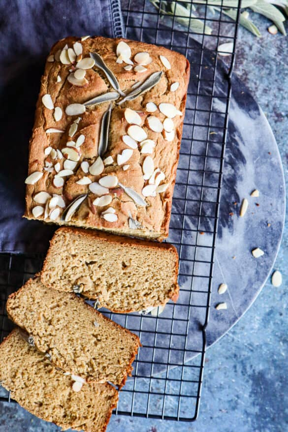 Gluten Free Sweet Potato Bread with three slices cut to show texture