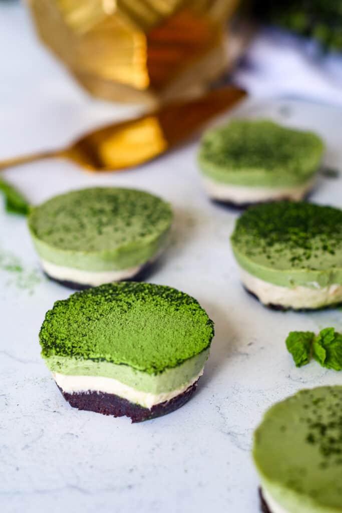 Mini Matcha Cheesecakes Vegan and Gluten Free