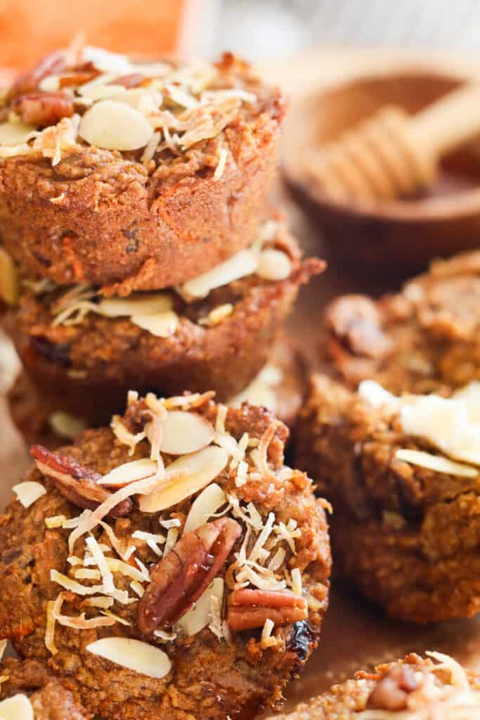 close up of gluten free carrot cake muffins