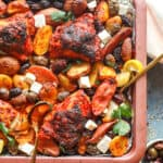 Sheet Pan Chicken Harissa Dish with Potatoes, Olives, and Feta Cheese
