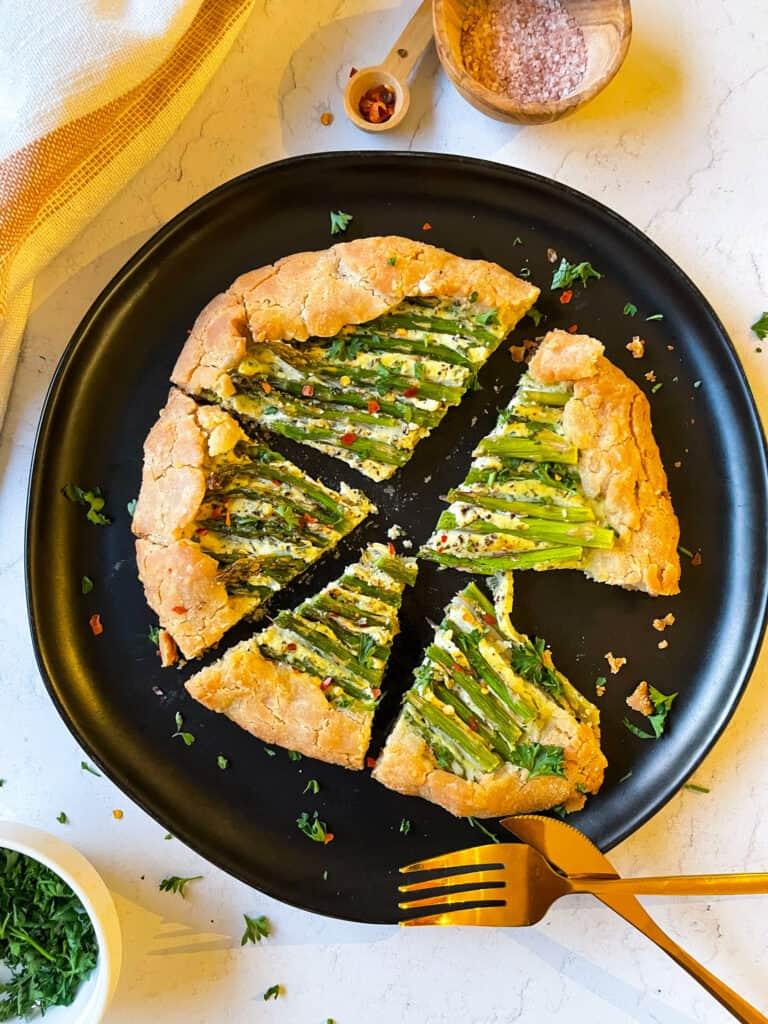 Vegan Ricotta and Asparagus Galette. Gluten-Free