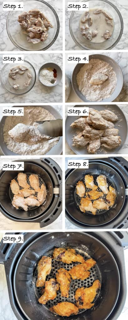 steps to show how to make crispy gluten free air fryer southern fried chicken