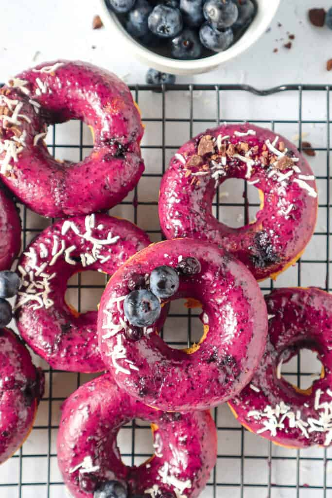 Blueberry baked vegan donuts