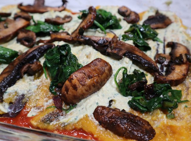 how to make gluten free vegan lasagna using eggplant, butternut squash, mushrooms