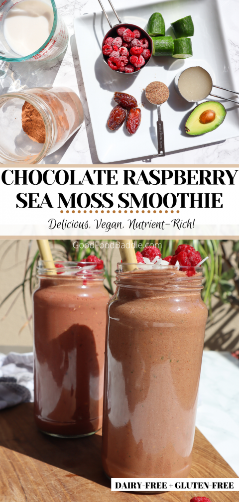Pin It! Chocolate Raspberry Sea Moss Smoothie