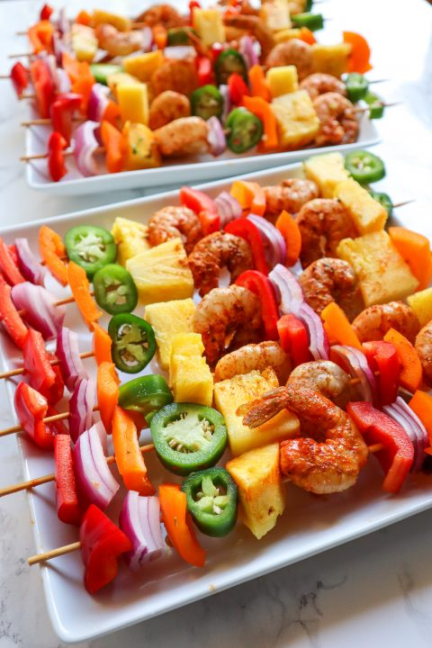 Pineapple Shrimp Skewers before cooking