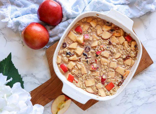 apple baked oatmeal before baking vegan
