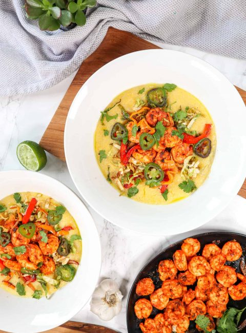 cajun shrimp with creamy polenta and toppings