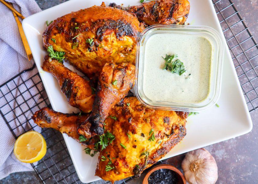 chicken closeup of lemon yogurt grilled chicken