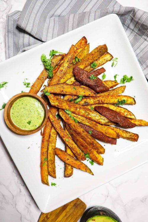 cilantro aioli and sweet potato fries