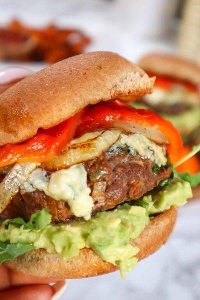 close up bison burger