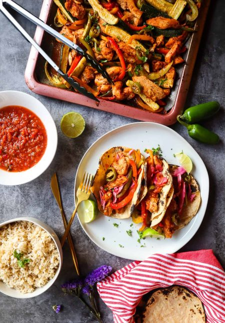 family meal with chicken and peppers baked