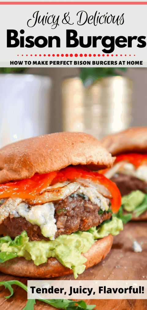Bison Burger with avocado, blue cheese, roasted red pepper