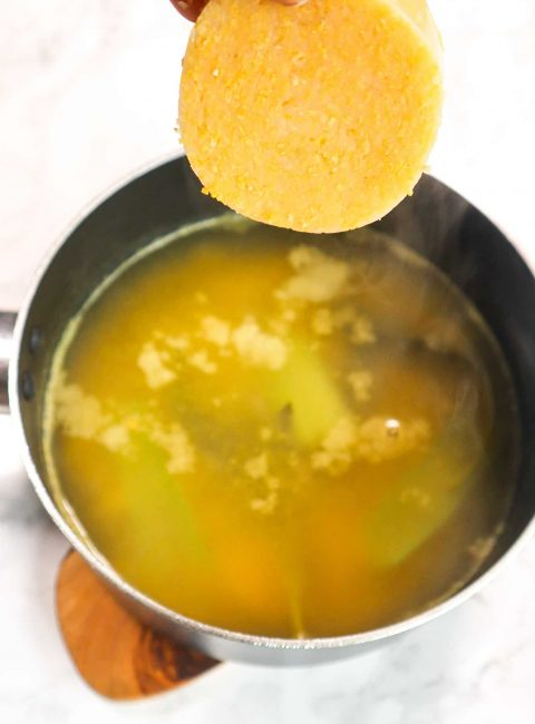 polenta in veggie broth