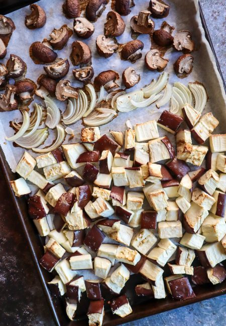 roasted eggplant and mushrooms for meatballs