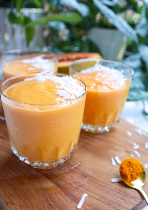 smoothie with papaya and turmeric