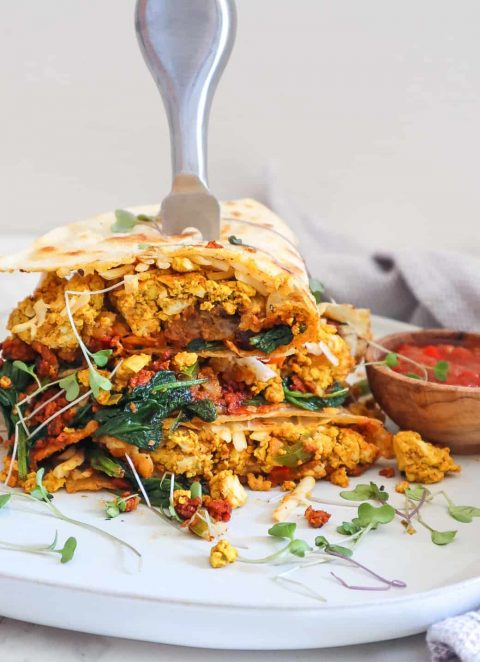 easy vegan breakfast quesadilla
